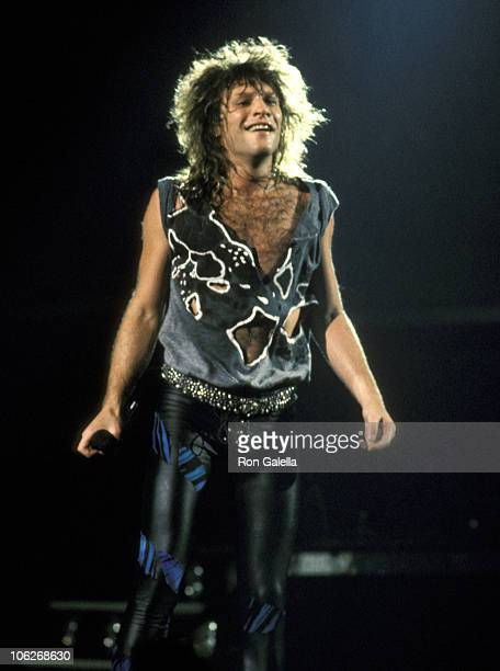 Jon Bon Jovi during Bon Jovi in Concert at Madison Square Garden in New York City August 1 1987 at Madison Square Garden in New York City New York...