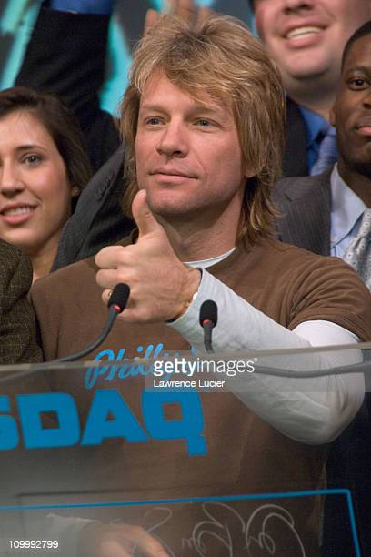 Jon Bon Jovi during Jon Bon Jovi Rings the Closing Bell of NASDAQ on Behalf of the Arena Football League January 26 2006 at NASDAQ in New York City...