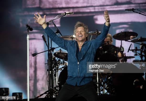 Jon Bon Jovi from Bon Jovi performs at day 5 of Rock in Rio on September 22 2017 in Rio de Janeiro Brazil