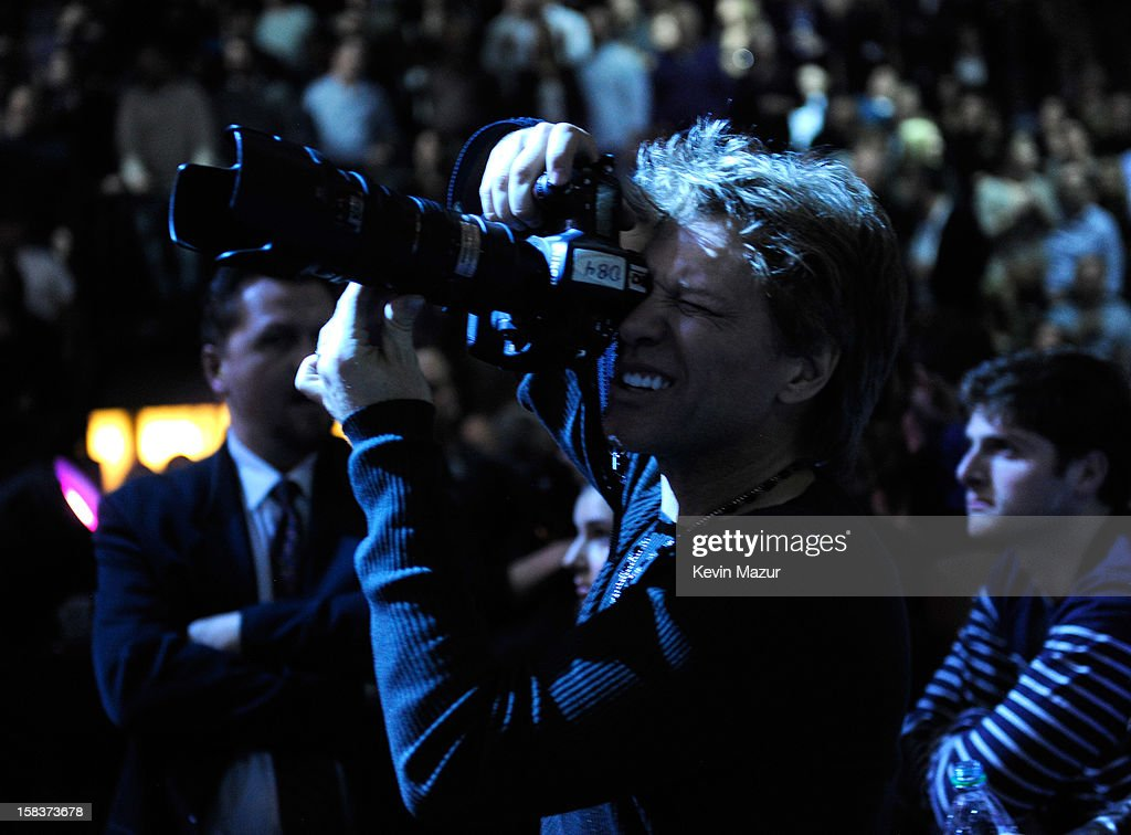 Jon Bon Jovi in the audience at '12-12-12' a concert benefiting The Robin Hood Relief Fund to aid the victims of Hurricane Sandy presented by Clear Channel Media & Entertainment, The Madison Square Garden Company and The Weinstein Company at Madison Square Garden on December 12, 2012 in New York City.