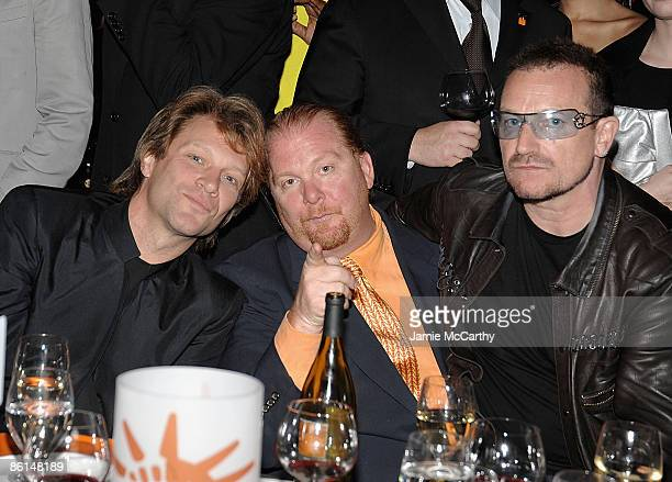 Jon Bon Jovi Mario Batali and Bono attend the Food Bank For New York City's Sixth Annual CanDo Awards at Abigail Kirsch's Pier Sixty at Chelsea Piers...
