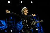 Jon Bon Jovi of Bon Jovi performs at Park HaYarkon on October 3 2015 in Tel Aviv Israel