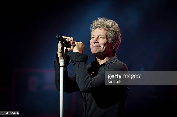Jon Bon Jovi of Bon Jovi performs new album 'This House Is Not For Sale' at London Palladium on October 10 2016 in London England