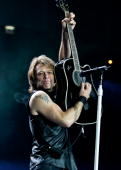 Jon Bon Jovi of Bon Jovi performs on stage at O2 Arena on June 22 2010 in London England