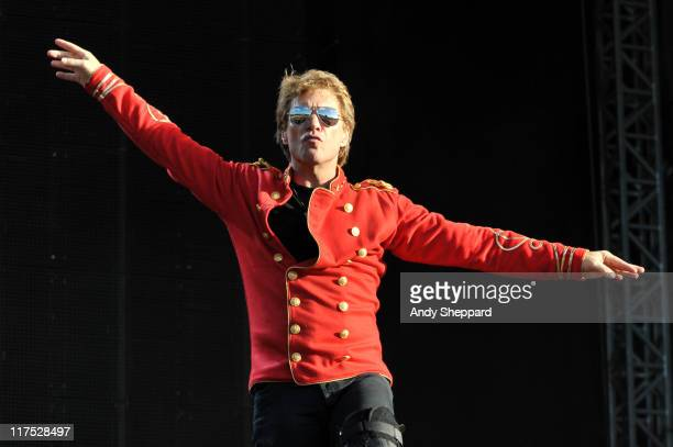 Jon Bon Jovi of Bon Jovi performs on stage during the second day of Hard Rock Calling 2011 at Hyde Park on June 25 2011 in London United Kingdom