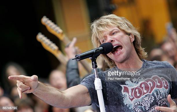 Jon Bon Jovi of Bon Jovi performs on stage during the Toyota Concert Series on the 'Today' show September 23 2005 in New York City