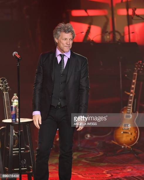 Jon Bon Jovi performs at the Songwriters Hall Of Fame 48th Annual Induction and Awards at New York Marriott Marquis Hotel on June 15 2017 in New York...