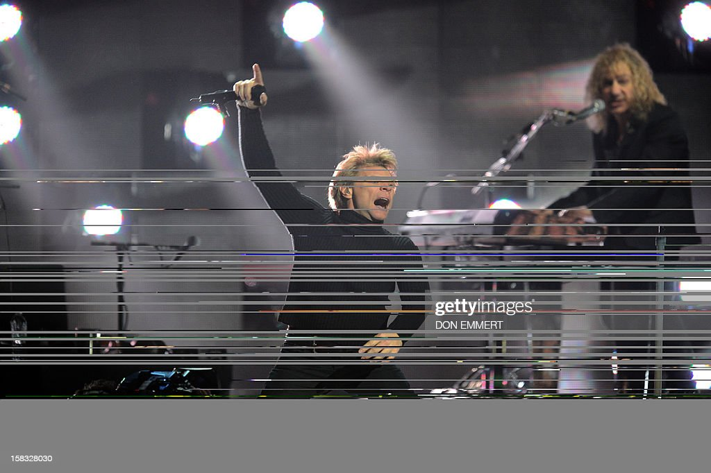 Jon Bon Jovi performs during '12-12-12 The Concert For Sandy Relief' December 12, 2012 at Madison Square Garden in New York. AFP PHOTO/DON EMMERT