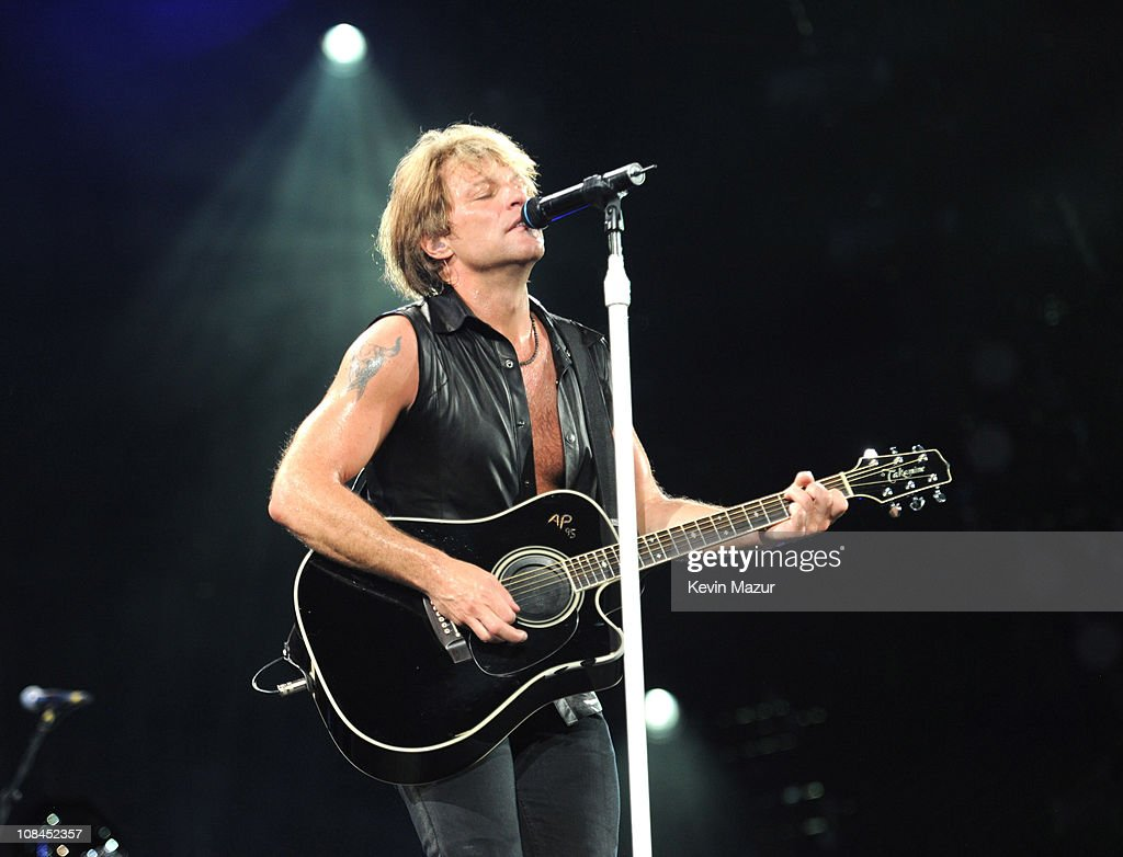 Jon Bon Jovi performs during 'The Circle World Tour' at New Meadowlands Stadium on May 26, 2010 in East Rutherford, New Jersey.