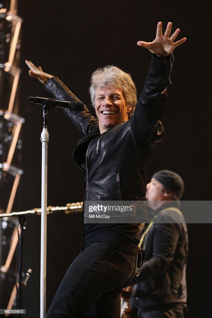 Jon Bon Jovi performs live at the Wells Fargo Center March 31, 2017 in Philadelphia, Pennsylvania.