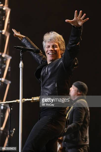 Jon Bon Jovi performs live at the Wells Fargo Center March 31 2017 in Philadelphia Pennsylvania
