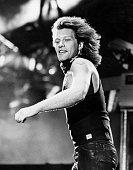 Jon Bon Jovi performs on stage at Milton Keynes Bowl United Kingdom 1990