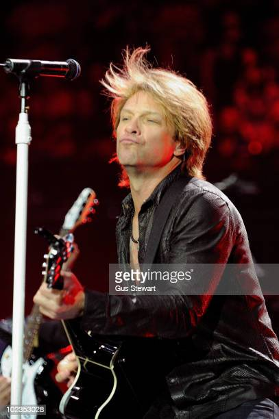 Jon Bon Jovi performs on stage at O2 Arena on June 23 2010 in London England