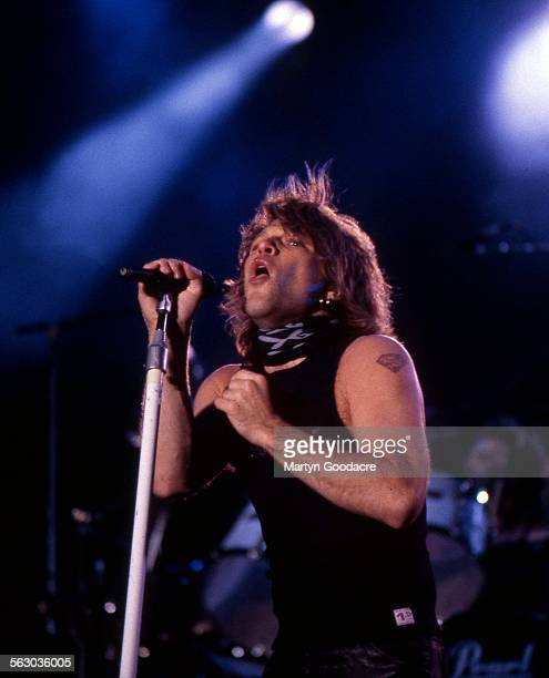 Jon Bon Jovi performs on stage with Bon Jovi at Milton Keynes Bowl 1993 United Kingdom 1993