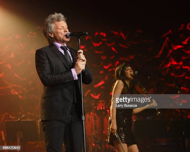 Jon Bon Jovi performs onstage at the Songwriters Hall Of Fame 48th Annual Induction and Awards at New York Marriott Marquis Hotel on June 15 2017 in...