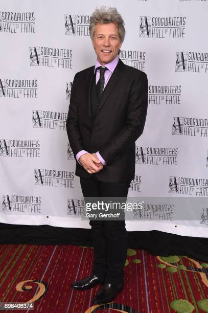 Jon Bon Jovi poses backstage at the Songwriters Hall Of Fame 48th Annual Induction and Awards at New York Marriott Marquis Hotel on June 15 2017 in...
