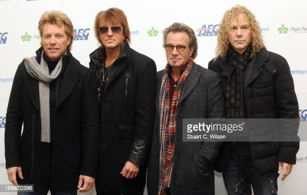Jon Bon Jovi Richie Sambora Tico Torres and David Bryan attends as Bon Jovi are announced to headline the AEG Live Hyde Park 2013 gigs at Mandarin...