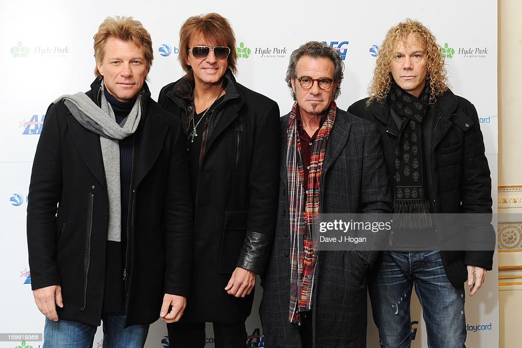 Jon Bon Jovi Richie Sambora Tico Torres and David Bryan of Bon Jovi attend a press conference to announce the band as the first headliner for the...