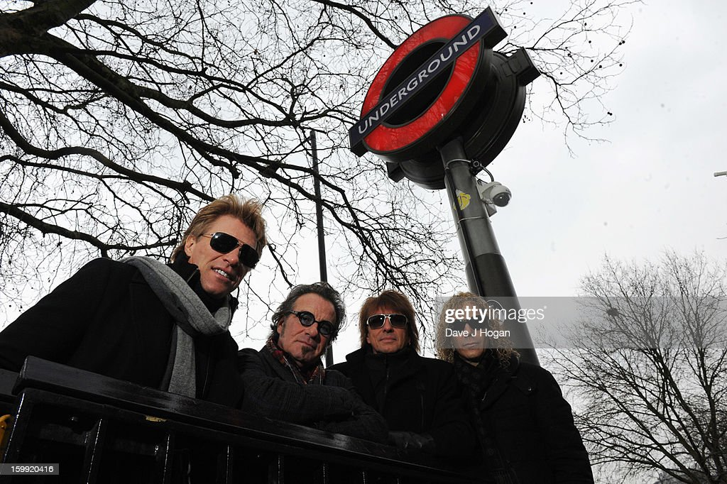 Jon Bon Jovi, Richie Sambora, Tico Torres and David Bryan of Bon Jovi pose for a portrait to announce the band as the first headliner for the Barclaycard British Summertime festival to be held in Hyde Park in July at Hyde Park Corner on January 23, 2013 in London, England.