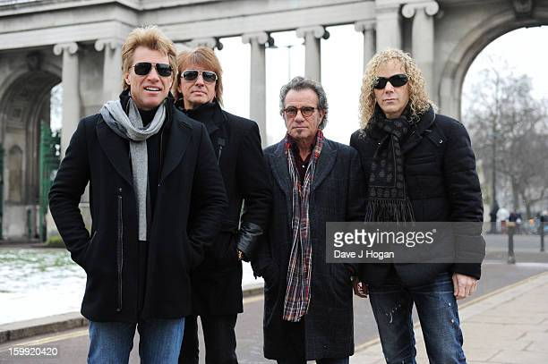 Jon Bon Jovi Richie Sambora Tico Torres and David Bryan of Bon Jovi pose for a portrait to announce the band as the first headliner for the...