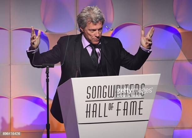 Jon Bon Jovi speaks at the Songwriters Hall Of Fame 48th Annual Induction and Awards at New York Marriott Marquis Hotel on June 15 2017 in New York...