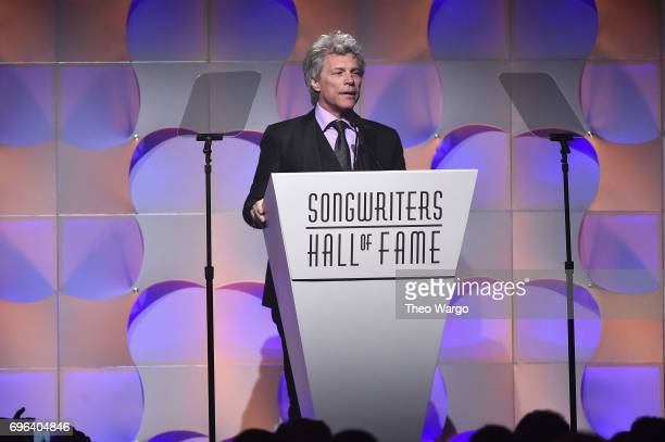 Jon Bon Jovi speaks onstage at the Songwriters Hall Of Fame 48th Annual Induction and Awards at New York Marriott Marquis Hotel on June 15 2017 in...
