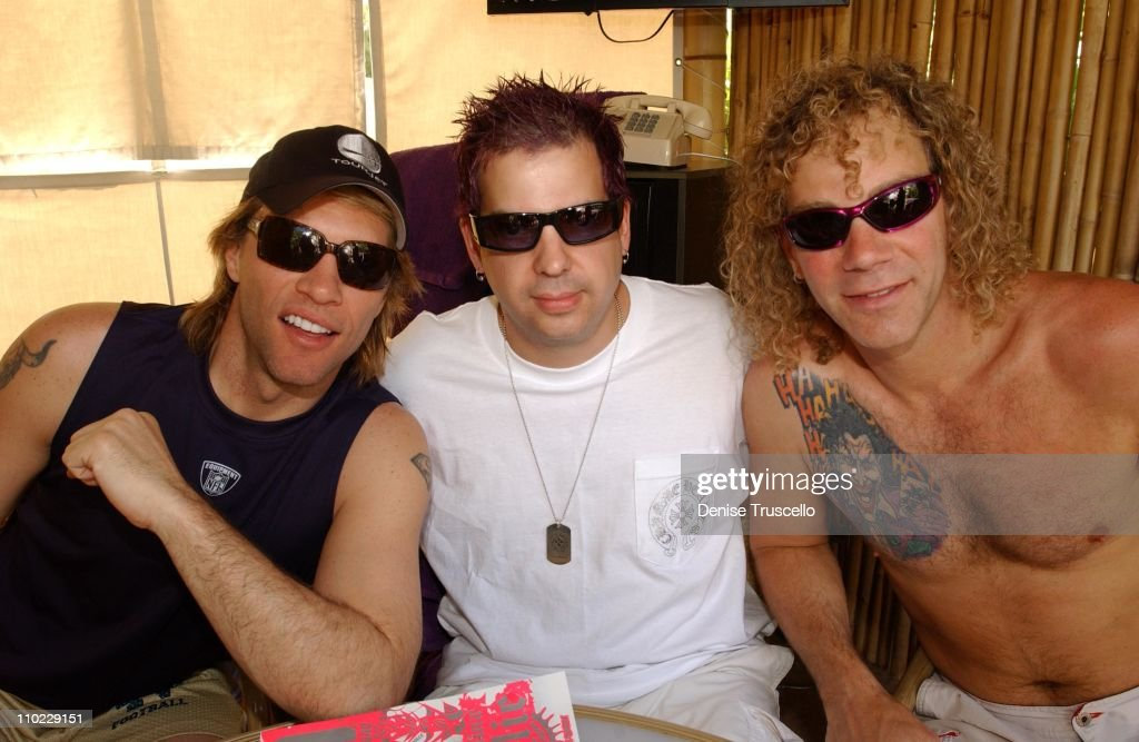 Jon Bon Jovi Tommy Lipnick and David Bryan during Hard Rock Hotel and Casino 10th Anniversary Weekend Party at REHAB at The Hard Rock Hotel and...