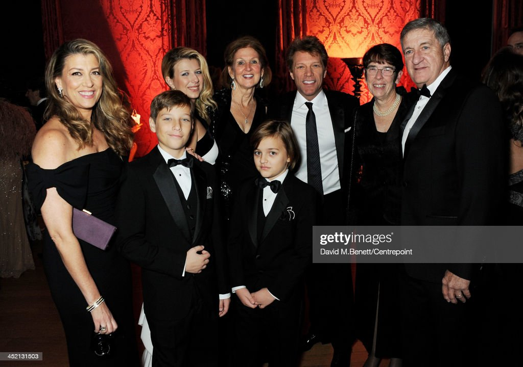 Jon Bon Jovi (3R), wife Dorothea Hurley (L), children Stephanie Rose, Jacob and Romeo and guests attend the Winter Whites Gala in aid of Centrepoint at Kensington Palace on November 26, 2013 in London, England.