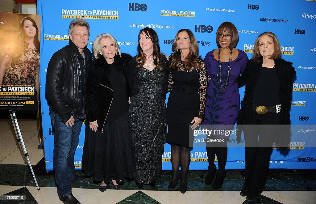 <a gi-track='captionPersonalityLinkClicked' href=/galleries/search?phrase=Jon+Bon+Jovi&family=editorial&specificpeople=201527 ng-click='$event.stopPropagation()'>Jon Bon Jovi</a>,<a gi-track='captionPersonalityLinkClicked' href=/galleries/search?phrase=Sheila+Nevins&family=editorial&specificpeople=584103 ng-click='$event.stopPropagation()'>Sheila Nevins</a>,Katrina Gilbert,<a gi-track='captionPersonalityLinkClicked' href=/galleries/search?phrase=Maria+Shriver&family=editorial&specificpeople=179436 ng-click='$event.stopPropagation()'>Maria Shriver</a>,<a gi-track='captionPersonalityLinkClicked' href=/galleries/search?phrase=Gayle+King&family=editorial&specificpeople=215469 ng-click='$event.stopPropagation()'>Gayle King</a> and <a gi-track='captionPersonalityLinkClicked' href=/galleries/search?phrase=Gloria+Steinem&family=editorial&specificpeople=213078 ng-click='$event.stopPropagation()'>Gloria Steinem</a> attend 'Paycheck To Paycheck: The Life And Times Of Katrina Gilbert' New York Premiere at HBO Theater on March 13, 2014 in New York City.