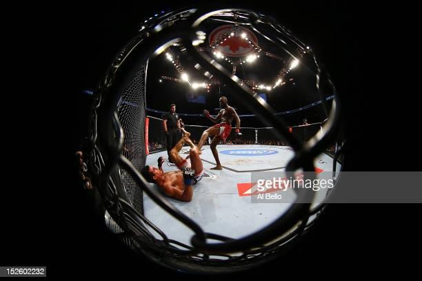 Jon 'Bones' Jones kicks Vitor Belfort during their light heavyweight championship bout at UFC 152 inside Air Canada Centre on September 22 2012 in...