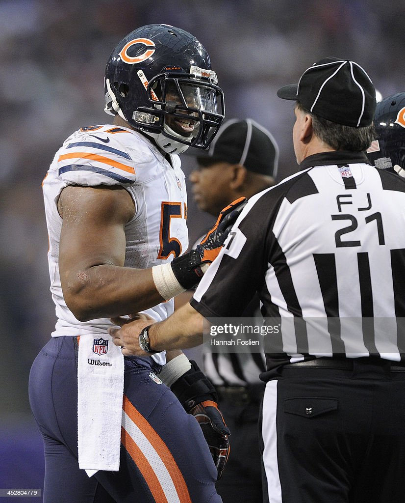 <a gi-track='captionPersonalityLinkClicked' href=/galleries/search?phrase=Jon+Bostic&family=editorial&specificpeople=8537426 ng-click='$event.stopPropagation()'>Jon Bostic</a> #57 of the Chicago Bears speaks to field judge Jeff Lamberth #21 after being called for taunting during the fourth quarter of the game against the Minnesota Vikings on December 1, 2013 at Mall of America Field at the Hubert H. Humphrey Metrodome in Minneapolis, Minnesota. The Vikings defeated the Bear 23-20 in overtime.