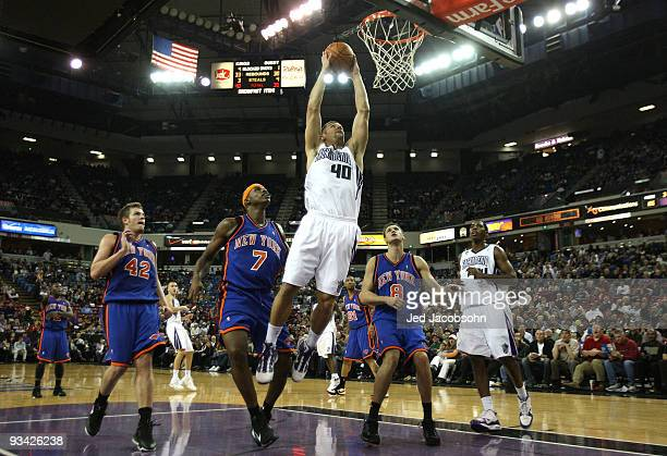 Jon Brockman of the Sacramento Kings shoots against the New York Knicks on November 25 2009 at ARCO Arena in Sacramento California NOTE TO USER User...