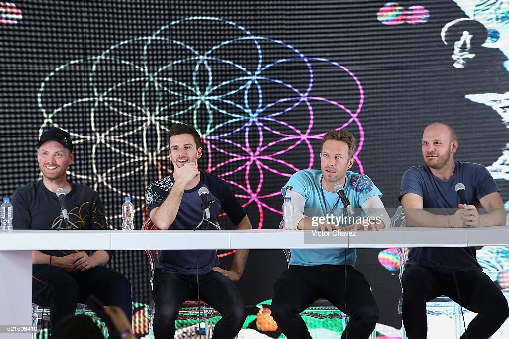Jon Buckland Guy Berryman Chris Martin Will Champion of Coldplay attend a press conference to promote their concerts at Foro Sol on April 15 2016 in...