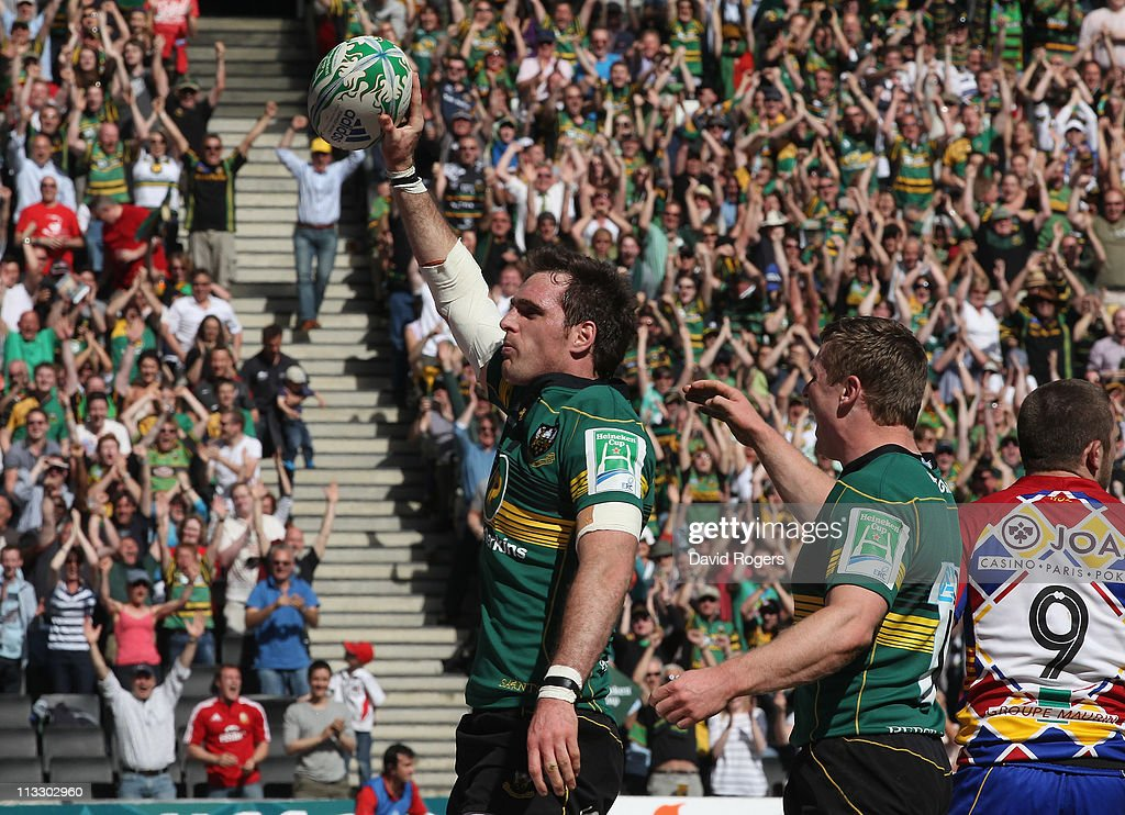 Jon Clarke of Northampton celebrates after scoring a try during the Heineken Cup semi final match between Northampton Saints and Perpignan at stadium...
