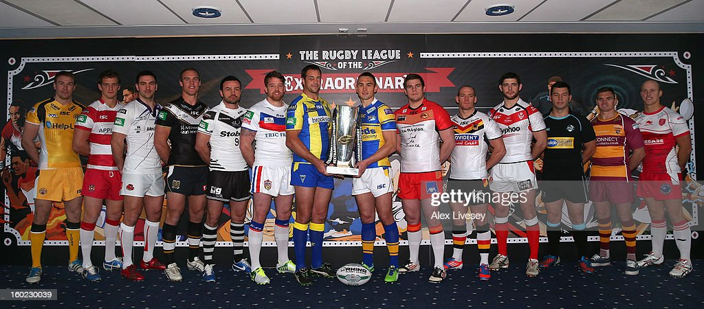 Jon Clarke of Widnes Vikings, Sean O'Loughlin of Wigan Warriors, Stephen Wild of Salford City Reds, Gareth Ellis of Hull FC, Paul Wellens of St Helens, Craig Gower of London Broncos, Danny Brough of Huddersfield Giants, Heath L'Estrange of Bradford Bulls, Michael Shenton of Castleford Tigers, Danny Kirmond of Wakefield Wildcats, Adrian Morley of Warrington Wolves, Kevin Sinfield of Leeds Rhinos, Remi Casty of Catalan Dragons and Michael Dodson of Hull KR line up for a photocall prior to the 2013 Super League Media Launch at Etihad Stadium on January 28, 2013 in Manchester, England.