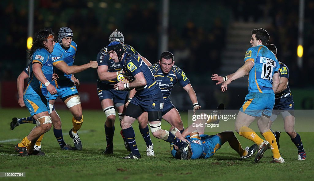Jon Clarke of Worcester charges upfield during the Aviva Premiership match between Worcester Warriors and London Wasps at Sixways Stadium on March 1, 2013 in Worcester, England.