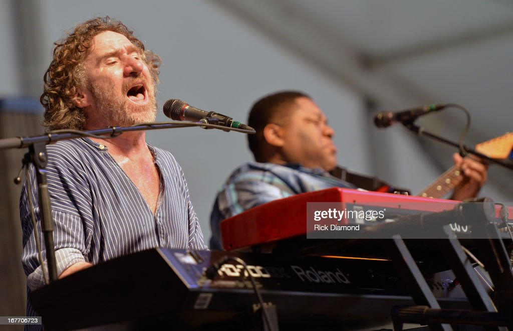Jon Cleary & the Diabolical Fandangos perform during the 2013 New Orleans Jazz & Heritage Music Festival at Fair Grounds Race Course on April 27, 2013 in New Orleans, Louisiana.