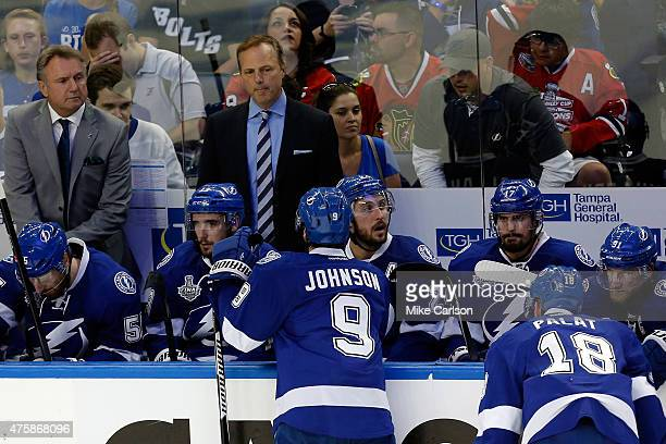 Jon Cooper of the Tampa Bay Lightning looks on against the Chicago Blackhawks during Game One of the 2015 NHL Stanley Cup Final at Amalie Arena on...