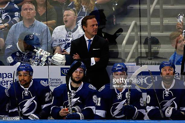 Jon Cooper of the Tampa Bay Lightning looks on against the New York Rangers during Game Three of the Eastern Conference Finals during the 2015 NHL...