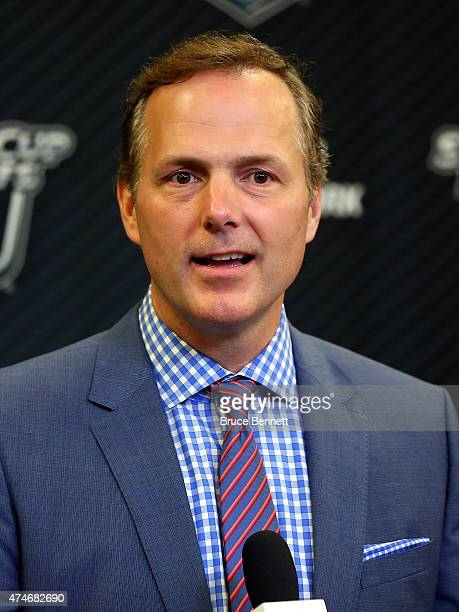 Jon Cooper of the Tampa Bay Lightning speaks to the media after winning Game Five of the Eastern Conference Finals against the New York Rangers...