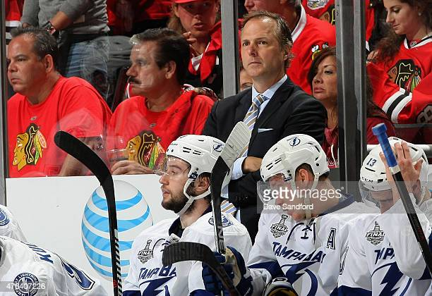 Jon Cooper of the Tampa Bay Lightning watches his team play against the Chicago Blackhawks during the third period of Game Three of the 2015 NHL...