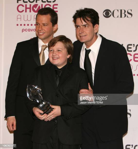 Jon Cryer Angus T Jones and Charlie Sheen winners Favorite TV Comedy for 'Two and a Half Men'
