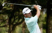 Jon Curran of the USA hits his tee shot on the seventh hole during the second round of the 2014 Brasil Champions Presented by HSBC at the Sao Paulo...