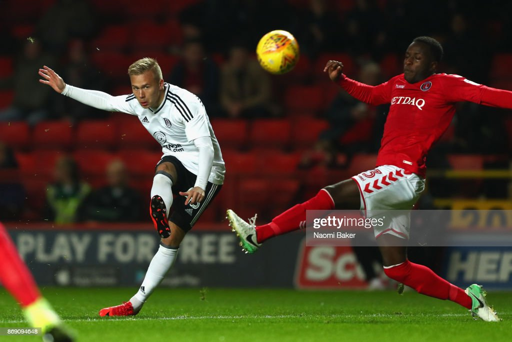 Jon Dagur Thorsteinsson of Fulham scores his sides first goal during the Checkatrade Trophy match between Charlton and Fulham at The Valley on November 1, 2017 in London, England.