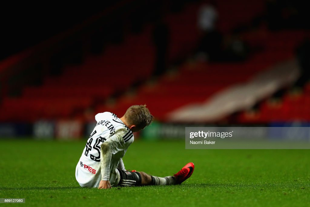 Jon Dagur Thorsteinsson of shows dissapointment at the full time whistle after the Checkatrade Trophy match between Charlton and Fulham at The Valley on November 1, 2017 in London, England.