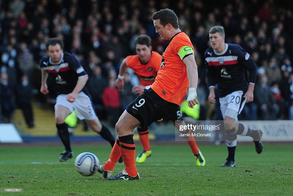 Jon Daly of Dundee United scores a penalty during the Clydesdale Bank Premier League match between Dundee and Dundee United at Dens Park Stadium on December 9, 2012 in Dundee, Scotland.