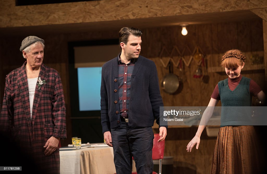 Jon DeVries Zachary Quinto and Taylor Richardson perform at the 'Smokefall' opening night at Lucille Lortel Theatre on February 22 2016 in New York...