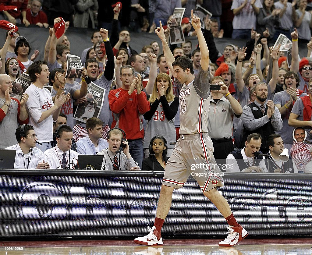 Jon Diebler of the Ohio State Buckeyes leaves the court after playing his final home game while playing the Wisconsin Badgers on March 6 2011 at the...