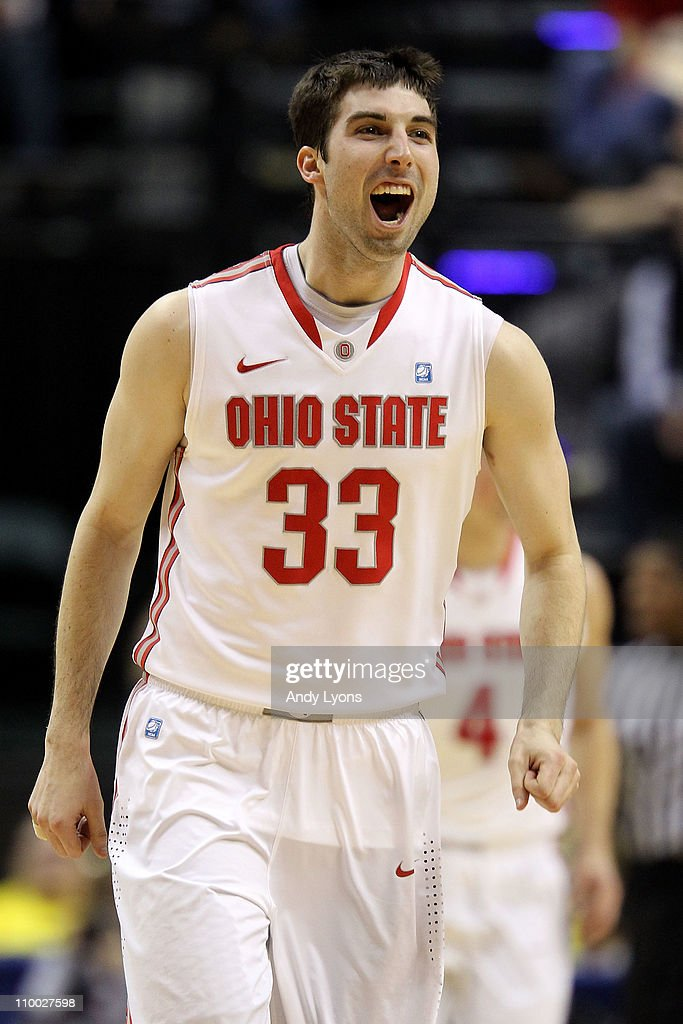 Jon Diebler of the Ohio State Buckeyes reacts against the Michigan Wolverines during the semifinals of the 2011 Big Ten Men's Basketball Tournament...