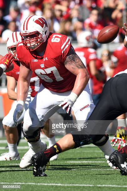 Jon Dietzen of the Wisconsin Badgers blocks against the Maryland Terrapins at Camp Randall Stadium on October 21 2017 in Madison Wisconsin